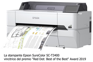 "Le stampanti Epson SureColor SC-T3400 e SC-T5400 vincono il primo ""Red Dot: Best of the Best"""